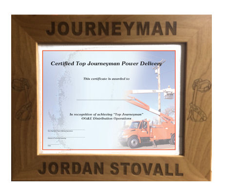 this personalized journeyman lineman picture or document frame will make a wonderful gift for the new - Document Frame